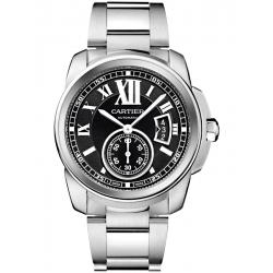 W7100016 Calibre de Cartier Black Dial Steel Bracelet Watch