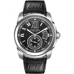 Calibre de Cartier Black Dial Leather Strap Watch W7100041