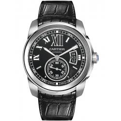 Calibre de Cartier Black Dial Leather Strap Watch W7100041