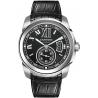 W7100041 Calibre de Cartier Black Dial Leather Strap Mens Watch