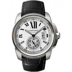 W7100037 Calibre de Cartier Silver Dial Leather Strap Watch