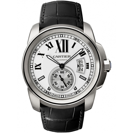 W7100037 Calibre de Cartier Silver Dial Leather Strap Watch