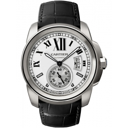 Calibre de Cartier Silver Dial Leather Strap Watch W7100037
