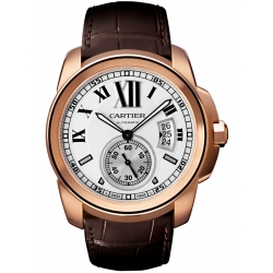 Calibre de Cartier 18K Pink Gold Case Leather Strap Watch W7100009