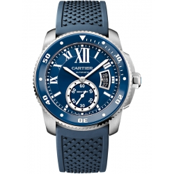 Calibre de Cartier Diver Steel Blue Rubber Watch WSCA0011