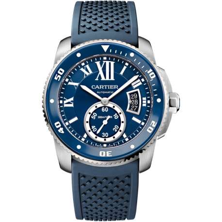 WSCA0011 Calibre de Cartier Diver 42 mm Steel Blue Rubber Watch