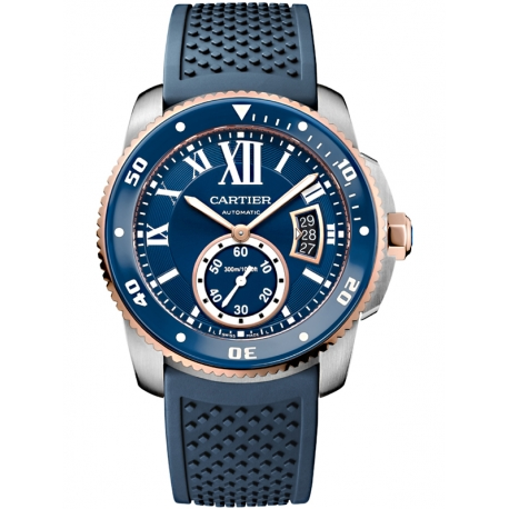 W2CA0009 Calibre de Cartier Diver Steel Pink Gold Blue Rubber Watch
