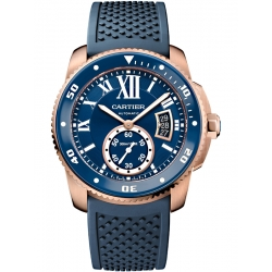 Calibre de Cartier Diver 18K Pink Gold Blue Rubber Watch WGCA0010