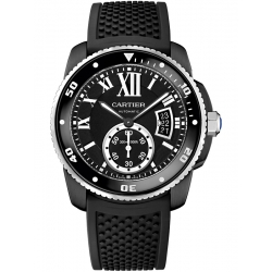Calibre de Cartier Carbon Diver Black Rubber Watch WSCA0006