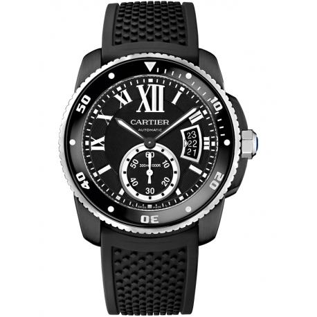 WSCA0006 Calibre de Cartier Carbon Diver Black Rubber Watch