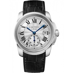 Calibre de Cartier 38 mm Silver Dial Leather Strap Watch WSCA0003