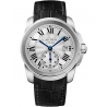 WSCA0003 Calibre de Cartier 38 mm Silver Dial Leather Strap Watch