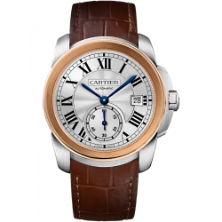 Calibre de Cartier 38 mm Steel Pink Gold Leather Watch W2CA0002