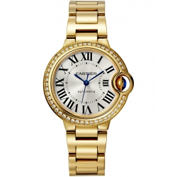 Ballon Bleu de Cartier 33 mm Diamond 18K Yellow Gold Watch WJBB0042