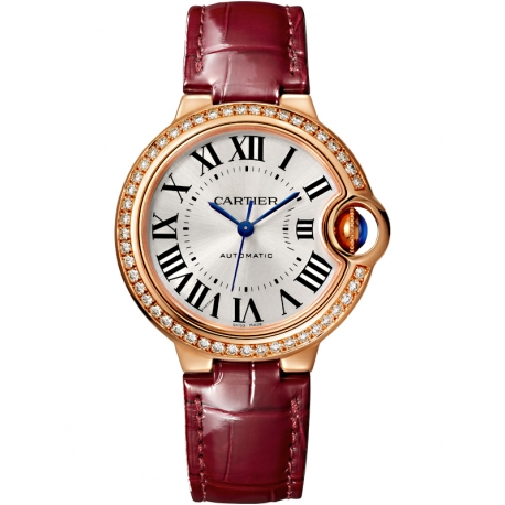 WJBB0033 Cartier Ballon Bleu 33mm Burgundy Leather Pink Gold Watch