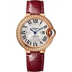 Ballon Bleu de Cartier 33 mm Burgundy Leather Diamond Watch WJBB0033