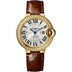 WJBB0040 Cartier Ballon Bleu 33mm Burgundy Leather Yellow Gold Watch