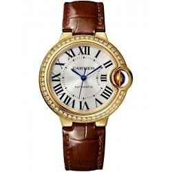 Ballon Bleu de Cartier 33 mm Brown Leather Diamond Watch WJBB0040
