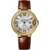 WJBB0040 Cartier Ballon Bleu 33mm Burgundy Leather Yellow Gold Watch