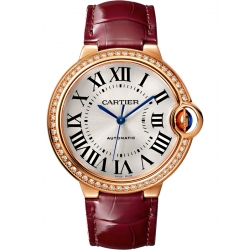 WJBB0034 Cartier Ballon Bleu 36mm Burgundy Leather Pink Gold Watch