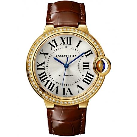 WJBB0041 Cartier Ballon Bleu 36mm Brown Leather Yellow Gold Watch