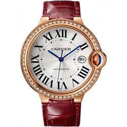 WJBB0035 Cartier Ballon Bleu 42 mm Burgundy Leather Pink Gold Watch