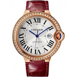 Ballon Bleu de Cartier 42 mm Burgundy Leather Pink Gold Watch WJBB0035