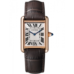 Tank Louis Cartier Large 18K Pink Gold Leather Watch WGTA0011