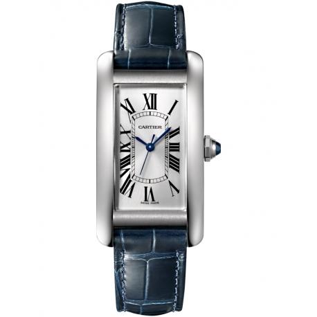 WSTA0017 Cartier Tank Americaine Medium Steel Leather Strap Watch
