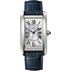 WSTA0018 Cartier Tank Americaine Large Steel Leather Strap Watch