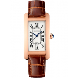 Cartier Tank Americaine Medium Pink Gold Leather Watch W2620030