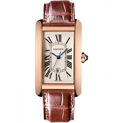 Cartier Tank Americaine Large Pink Gold Leather Watch W2609156