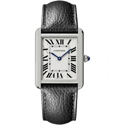Cartier Tank Solo Large Steel Case Leather Strap Watch WSTA0028