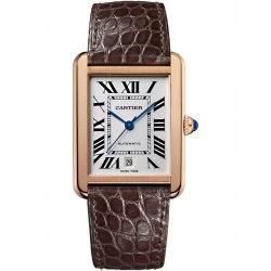 Cartier Tank Solo XL 18K Pink Gold Leather Strap Watch W5200026