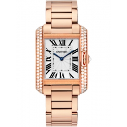 Cartier Tank Anglaise Medium Pink Gold Diamond Watch WT100027