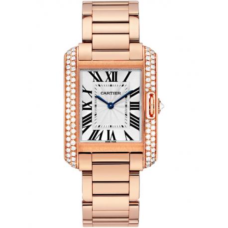 WT100027 Cartier Tank Anglaise Medium 18K Pink Gold Diamond Watch