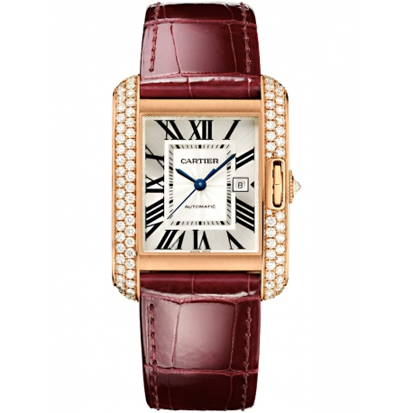 WT100016 Cartier Tank Anglaise Large 18K Pink Gold Diamond Watch
