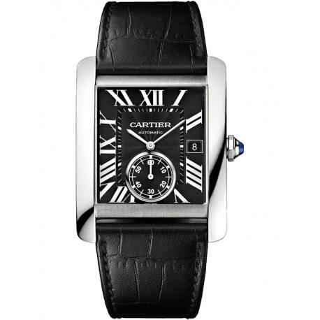 W5330004 Cartier Tank MC Large Steel Case Black Dial Mens Watch