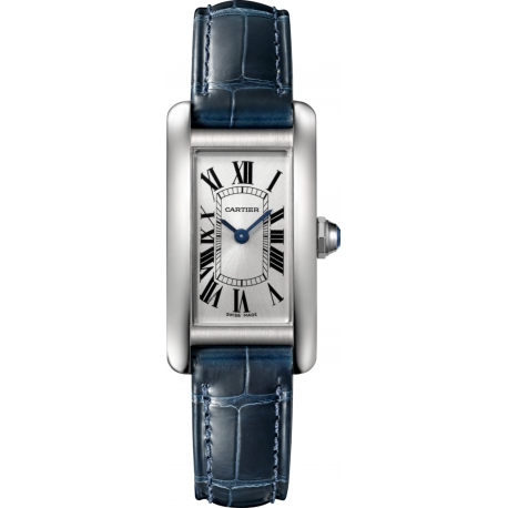 WSTA0016 Cartier Tank Americaine Small Steel Blue Leather Watch