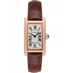 Cartier Tank Americaine Small Rose Gold Leather Watch W2607456