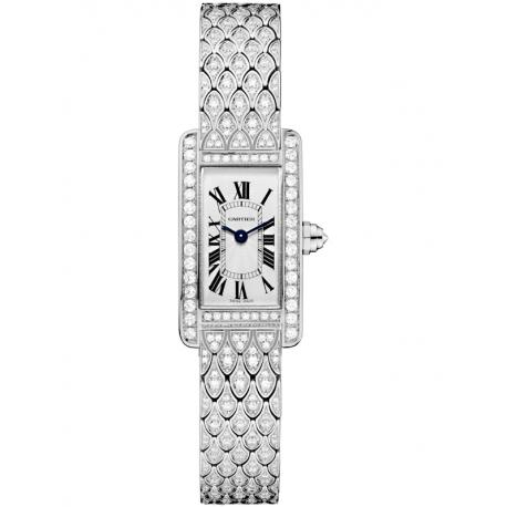 HPI00724 Cartier Tank Americaine Mini Full Diamond White Gold Bracelet Watch