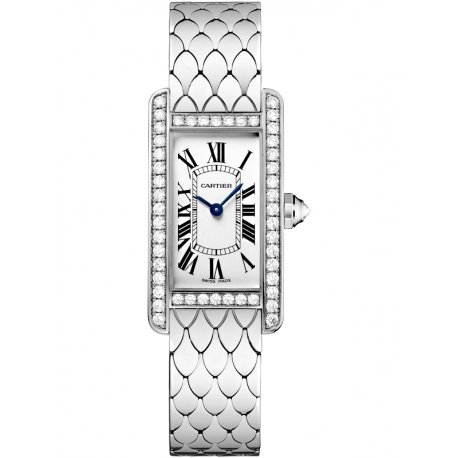 WB710009 Cartier Tank Americaine Small White Gold Bracelet Diamond Watch