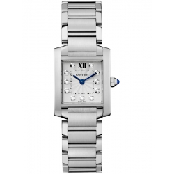 Cartier Tank Francaise Small Diamond Dial Steel Watch WE110006