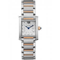 Cartier Tank Francaise Small Steel Pink Gold Watch WE110004