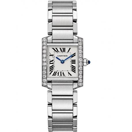 W4TA0008 Cartier Tank Francaise Small Diamond Steel Women Watch