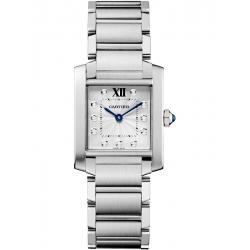 Cartier Tank Francaise Medium Diamond Dial Steel Watch WE110007