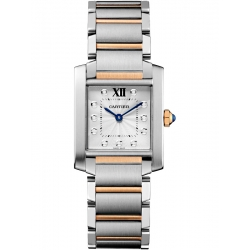Cartier Tank Francaise Medium Steel Pink Gold Watch WE110005