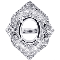 Diamond Ring Setting for Oval Stone 18K White Gold 1.45 ct