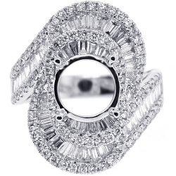 Diamond Bypass Setting Ring for Round Stone 18K White Gold