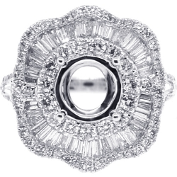 Diamond Flower Semi Mount Setting Ring 18K White Gold 2.14 ct